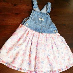 Oshkosh toddler girls overall dress pink & blue 4T